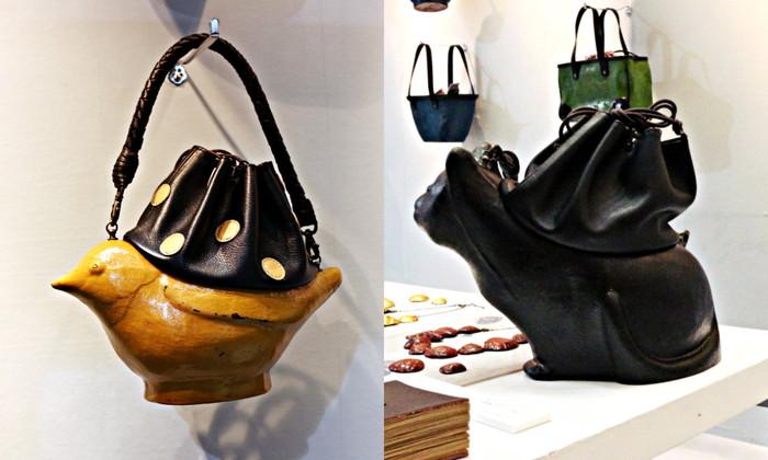 写真の小鳥、猫の形のほか、電話、鉄瓶などをモチーフにしたバッグも!