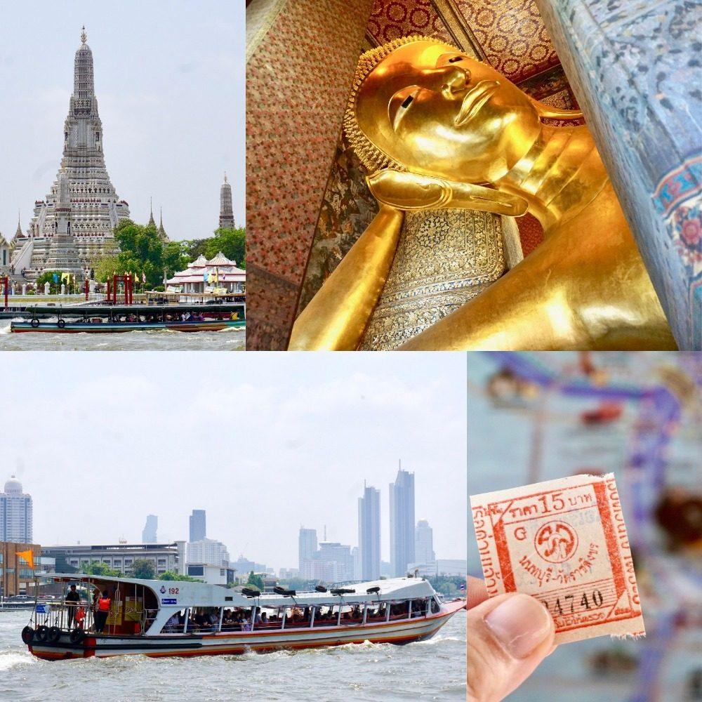 チャオプラヤ川の水上バスで黄金の涅槃仏へ